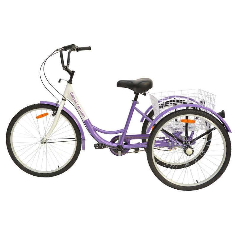 Royal London Adult Tricycle 3 Wheeled Trike Bicycle with Wire Shopping Basket - Purple #1