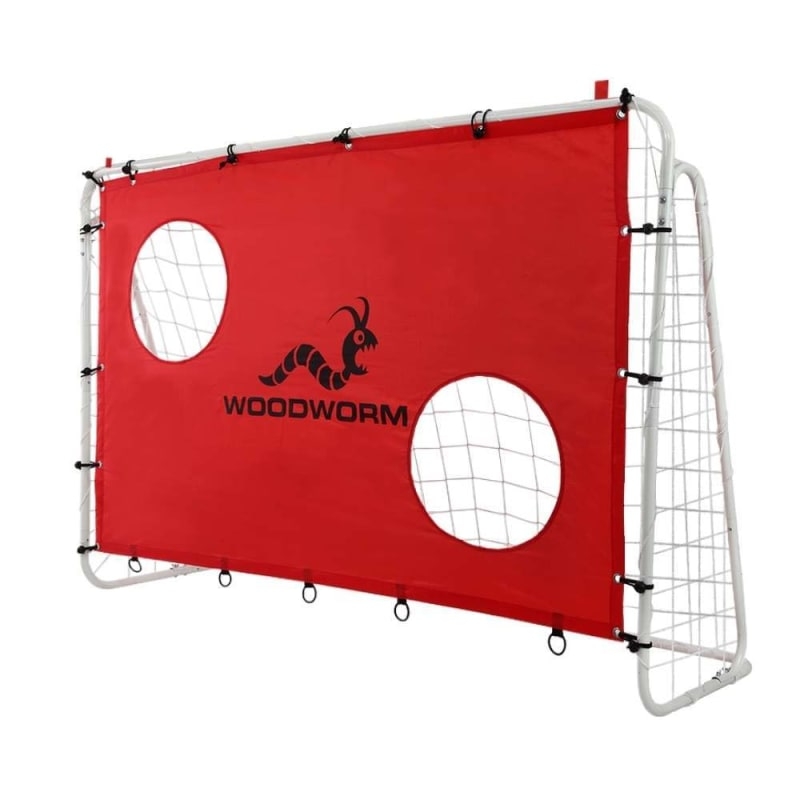 OPEN BOX Woodworm Metal Soccer Goal - 6ft x 4ft Soccer Goal with Target Nets #
