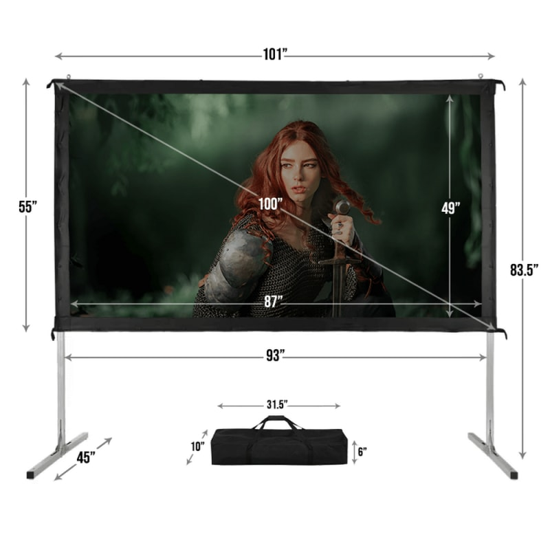 "Homegear Fast Fold Portable 100"" Projector Screen 16:9 HD for Indoor/Outdoor Use #3"