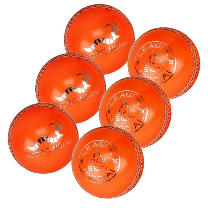 6 x Woodworm League 5 1/2oz Cricket Balls - Orange