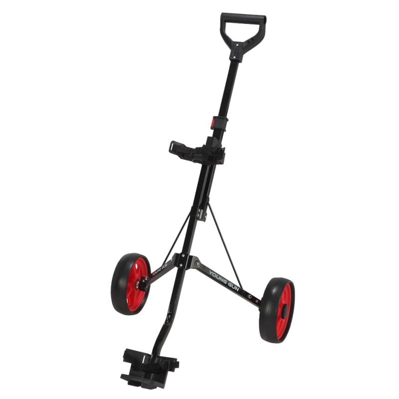 Young Gun Kids Adjustable Golf Cart for Junior Golfers 3-14 Years Old - Black/Red #