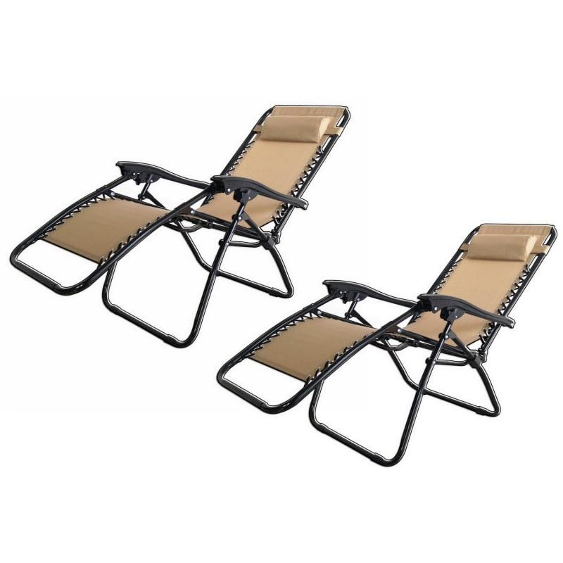 2x Palm Springs Folding Zero Gravity Recliner Chair  #4