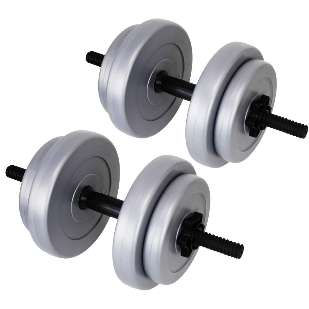 Tesco Dumbbell Set: Palm Springs 20kg Vinyl Dumbbell Weight Set Silver