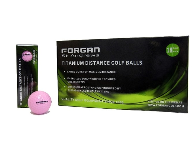 18 Forgan Golf Titanium Distance Golf Balls PINK