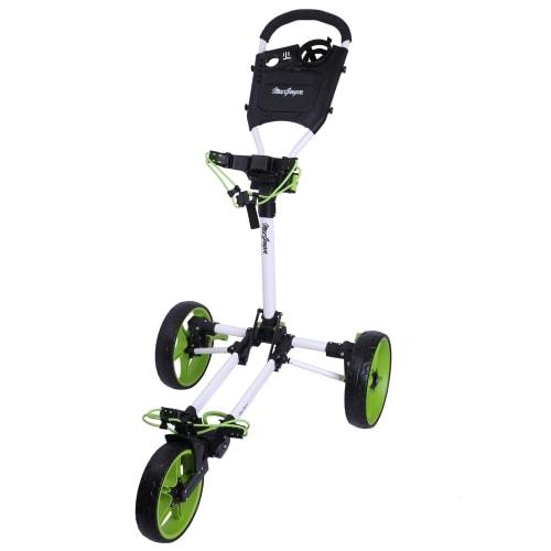 Caddymatic Junior Golf Cart - 3 Wheel Folding Cart for Kids- White/Green