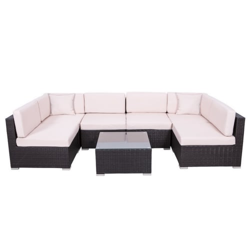 Palm Springs 7 Piece Rattan Sectional Sofa Set with Table and Cushions