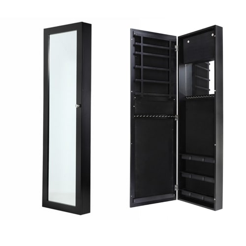 OPEN BOX Homegear Wall Mounted Mirrored Jewelry Cabinet Black
