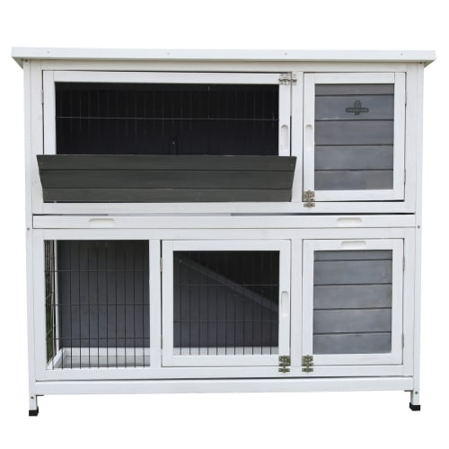 Confidenec Pet Rabbit Hutch, 4ft 2-Story with Ramp Wooden Hutch, White/Grey