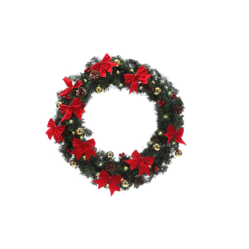 "OPEN BOX Homegear 24"" Decorated Christmas Wreath W/ Lights"