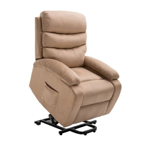 Homegear Microfiber Power Lift Electric Recliner Chair with Massage, Heat and Vibration with Remote - Taupe