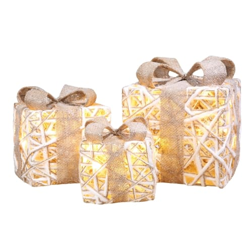 Homegear Christmas Set of 3 Pre-lit Gift Present Boxes with 60 LED Lights - Indoor or Outdoor Yard/Lawn Use - Silver Sparkle