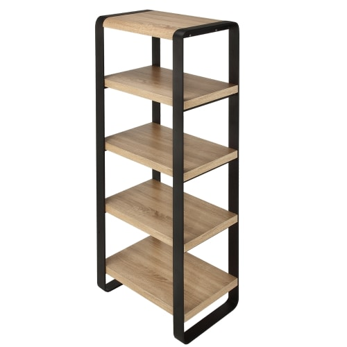 Homegear Oak Living Room Furniture 5-Tier Freestand Iron Bookcase with 5 Oak-Finished Shelves