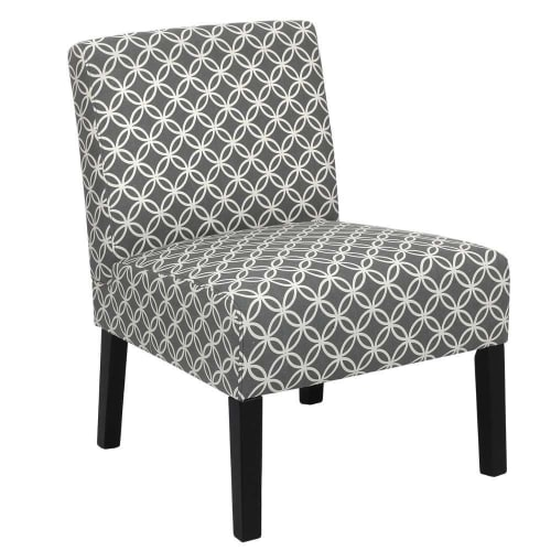 Homegear Home Furniture Accent Armless Chair - Contemporary Designs - Grey Intersecting Circles
