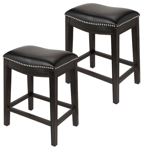 Homegear Faux Leather Backless Metal-Stud Bar Stools, Set of 2, Black