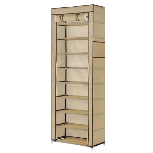 Homegear Large Free Standing Fabric Shoe Rack / Storage Cabinet Cream