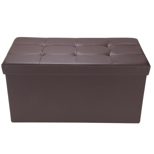 "Homegear 30"" Folding Storage Ottoman / Footstool Brown"