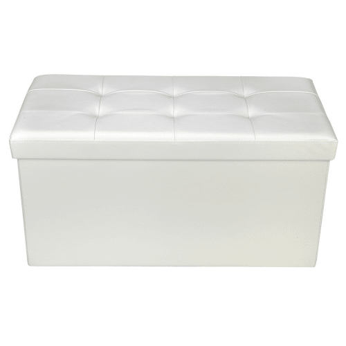 "Homegear 30"" Folding Storage Ottoman / Footstool Cream"