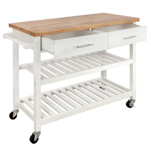 Homegear Open Storage V3 Kitchen Cart with Shelves - Island on Wheels