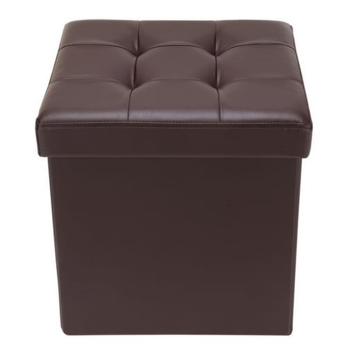 "Homegear 15"" Folding Storage Ottoman / Footstool Brown"