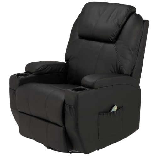 Homegear Recliner Chair with 8 Point Electric Massage and Heat - Black
