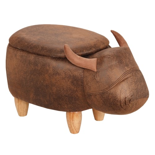Homegear Animal Kids/Nursery Ride-On Storage Ottoman / Footrest Stool - Brown Buffalo