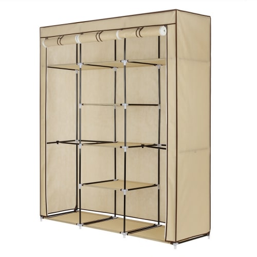 Homegear Triple Fabric Wardrobe Cream