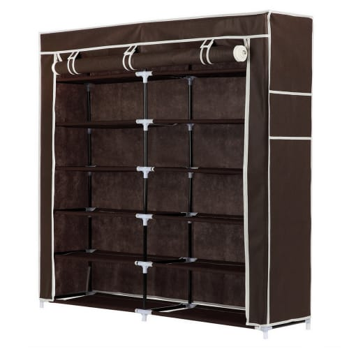 Homegear XL Free Standing Fabric Shoe Rack / Storage Cabinet Dark Brown