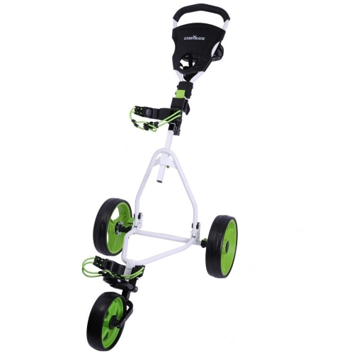 Caddymatic Junior Golf Trolley - 3 Wheel Folding Trolley for Kids- White/Green