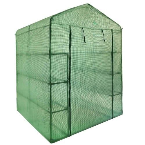 Palm Springs 12-Shelf Walk-in Greenhouse - Green Plastic Cover with Zippered Roll-Up Door