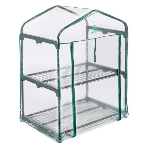 Palm Springs 2-Tier Mini Greenhouse with Cover and Roll-up Zipper Door