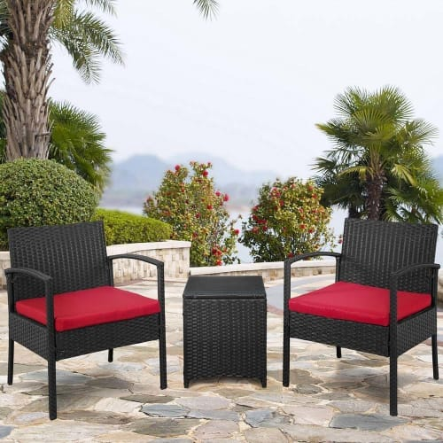 OPEN BOX Palm Springs Outdoor 3-Piece Patio Rattan / Wicker Style Furniture Conversation Set - 2 Chairs with Cushions, Glass Top Side Table