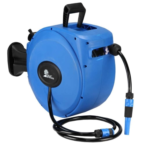 Palm Springs 65ft Wall Mounted Garden Hose Reel - Full Swivel and Quick Auto Retract