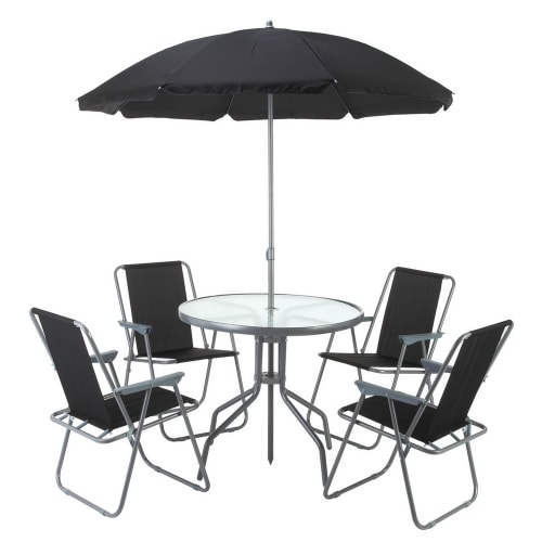 OPEN BOX Palm Springs Outdoor Dining Set with Table, 4 Chairs and Umbrella/Parasol