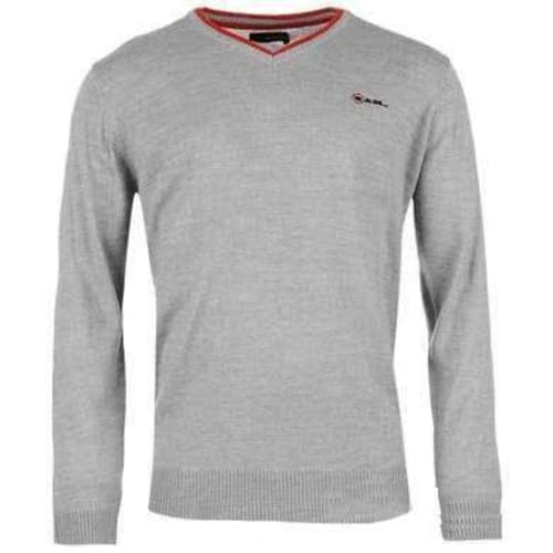 Ram V Neck Knitted Jumper Ram Men Clothing Grey Marl - Large