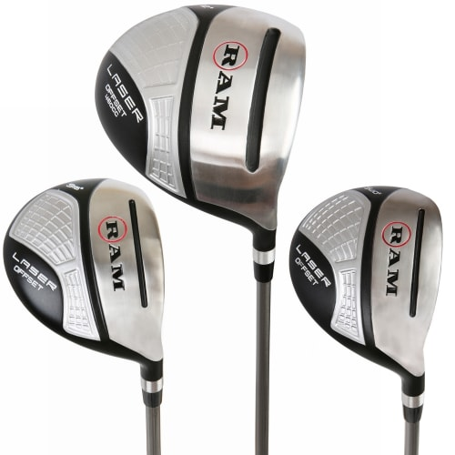 Ram Golf Laser Offset Graphite Wood Set 12° Driver 3 & 5 Wood Inc. Headcovers