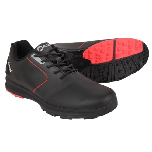Ram Golf Player Mens Waterproof Golf Shoes - Black / Red