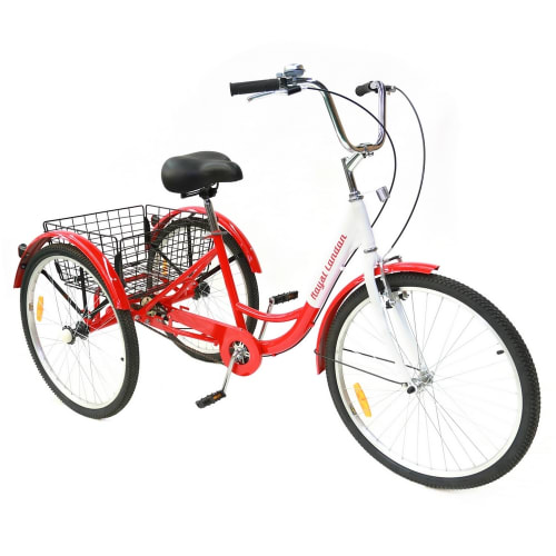 Royal London V2 Adult Tricycle 3 Wheeled Trike Bicycle w/ Wire Shopping Basket - Red