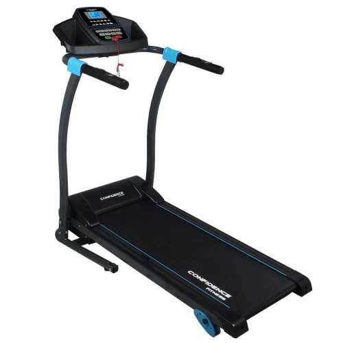 OPEN BOX Confidence Fitness TP-3 Folding Electric Treadmill - Motorized Running Machine with Manual Incline, LCD and Phone/Tablet Holder