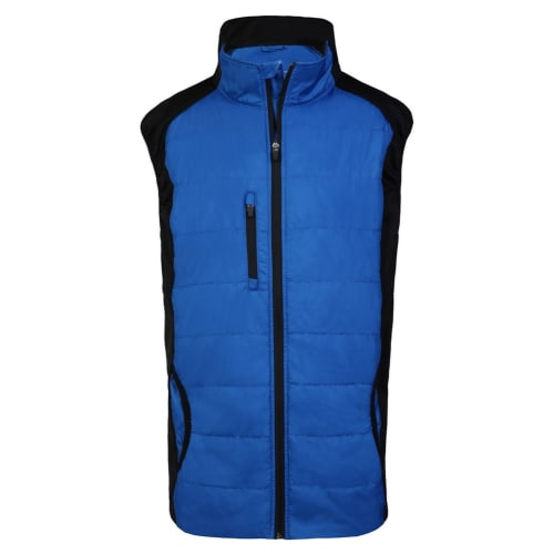 Woodworm Full Zip Padded Mens Gilet Golf Vest - Blue
