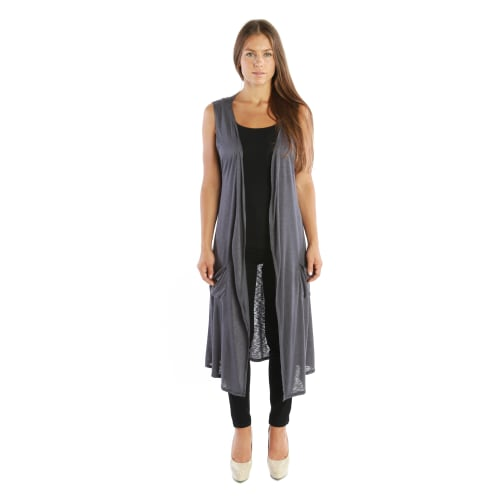 Open Duster Sleeveless Long Cardigan Vest w/ Pockets - MADE IN USA ...
