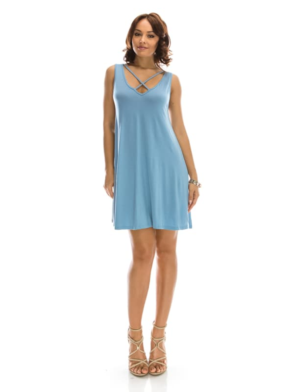 Sleeveless Dress w/ Crisscross Chest Design Swing Silhouette - Made in USA - All Sizes + Colors