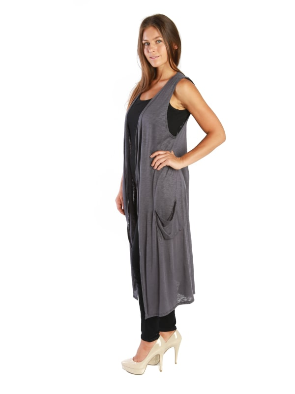 Open Duster Sleeveless Long Cardigan Vest w/ Pockets - MADE IN USA - All Sizes + Colors
