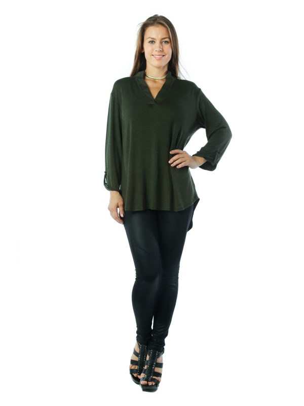 3/4 Sleeve Stylish V-Neck Tunic Top Fashion Shirt Blouse w/ Shirt Tail Hem - MADE IN USA - All Sizes + Colors