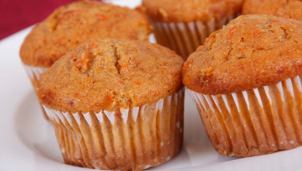 Lightly spiced carrot muffins