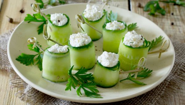 34. Cucumber and cream cheese