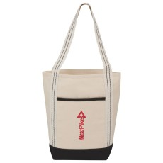 Stripe Handle 10 oz. Cotton Canvas Topsail Boat Tote