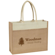Custom Logo Jute Tote With Front Pocket