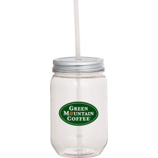 Custom Mason Jar 22oz. with Silver Tin Lid