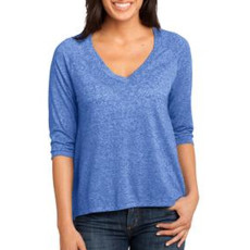 District Made Ladies Microburn V-Neck Raglan Tee