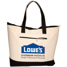 Imprinted Zippered Cotton Boat Tote